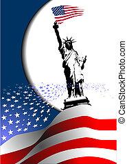 –, foren, image., ørn, amerikaner, 4, fastslår, flag, vektor, america., juli, dag, uafhængighed