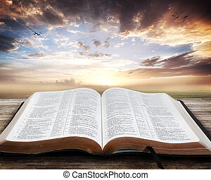 åben bibel, solnedgang
