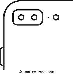æble, iphone, sort, tynd linje, ikon