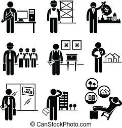 ægte, estates, konstruktion, arbejde
