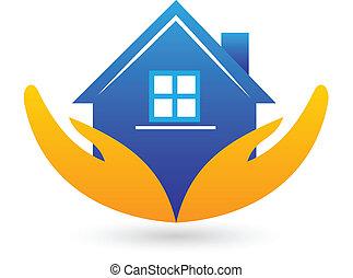 ægte, hus, estate, logo