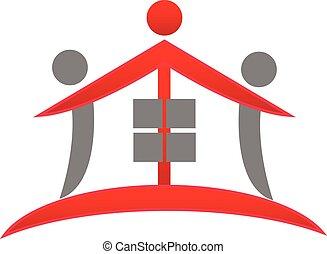 ægte, hus, teamwork, estate, logo