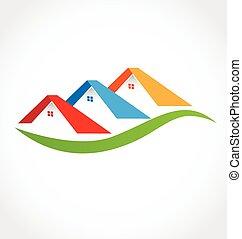 ægte, huse, estate, logo