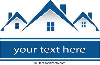 ægte, huse, logo, estate