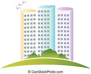 ægte, logo, bygninger, estate