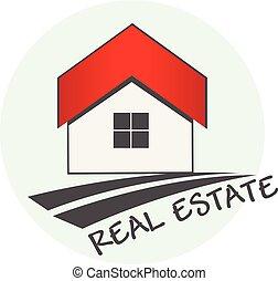 ægte, logo, estate, hus