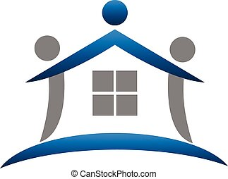 ægte, logo, teamwork, estate, hus