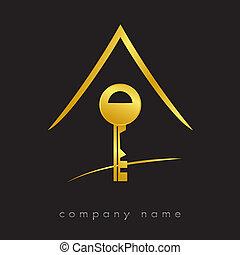 ægte, nøgle, logotype, estate