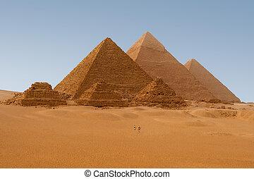 ægyptisk, giza, ægypten, pyramider, udsigter, seks, panaromic