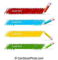 æske, blyanter, vektor, farverig, tekst