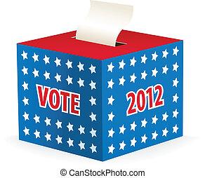 æske, illustrer, image, stemmeseddel
