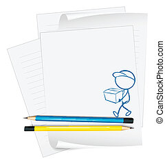 æske, person, skitse, avis, holde