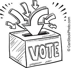 æske, skitse, stemme, stemmeseddel