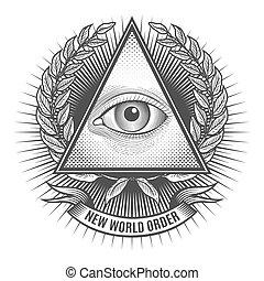 øje, seende, al, trekant, delta