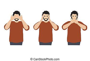 øjne, begreb, klog, ligesom, gør ikke, monkeys., ører, afdækning, tre, illustration, cartoon, kigge, vektor, mund, mand, hænder, afhøre, se, style., tal