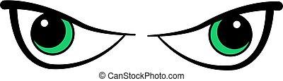 øjne, cartoon, onde
