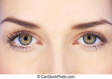 øjne, grønne