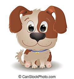 øjne, isoleret, beige, style., puppy., hund, prikket, cartoon, russel, domkraft, stor, lejlighed, vektor, cute, hvid, liden