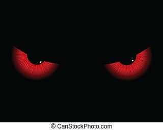 øjne, onde