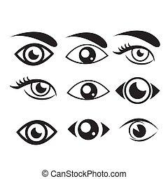 øjne, sæt, øje, collection., vektor, ikon