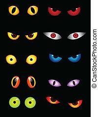 øjne, sæt, dyr