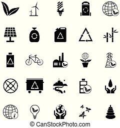 økologi, sæt, ikon