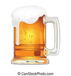øl, blære, glas krus, hvid