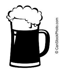 øl, sort, krus