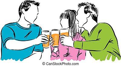 øl, tid, nydelse, il., kammerater, gilde
