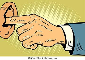 øre, ikke, afhøre, finger