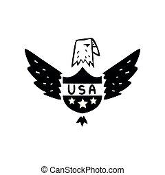 ørn, united states, illustration, symbol, amerikaner, vektor, konstruktion, retro, baggrund, hvid, element, emblem, logo
