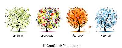 -, fire, kunst, efterår, smukke, træ, forår, konstruktion, winter., årstider, sommer, din