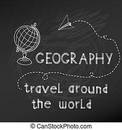 -, hånd, planke, vektor, kridt, drawn-, skole, tilbage, tegn, geografi