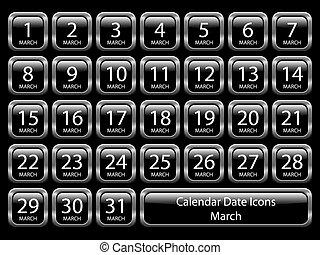 -, kalender, sæt, marts, ikon