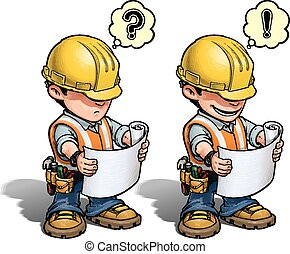 -, konstruktion arbejder, plan, læsning