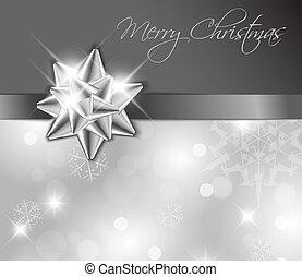 -, sølv, card, bøje sig, jul, bånd