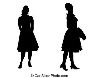 -, silhuet, unge kvinder