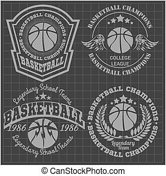 -, t-shirt, basketball, mesterskab, emblem