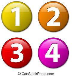 -, tre, to, fire, vektor, antal, æn, emblemer