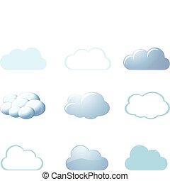 -, vejr, skyer, iconerne