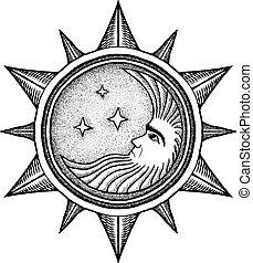 -, vektor, stylized, gravering, stjerner, måne, illustration