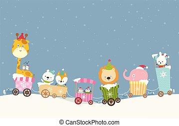 001, tog, dyr, smile, cartoon, lykke