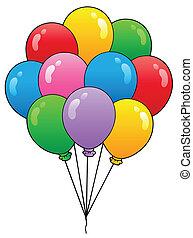 1, balloner, gruppe, cartoon