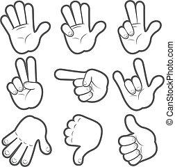 #1, cartoon, hænder
