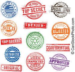 1, grunge, frimærker, sæt, kommerciel