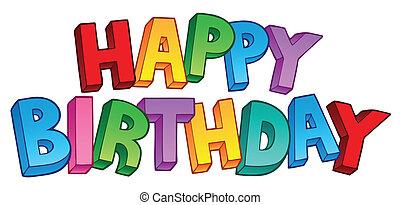 1, stor, fødselsdag, glade, tegn