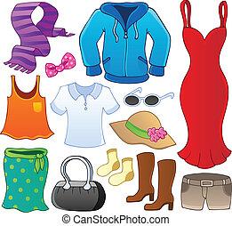 1, tema, samling, klæder