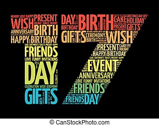 17, fødselsdag, glose, sky, glade