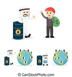 2, sæt, firma, olie, folk