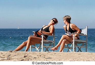 2, strand, kvinder